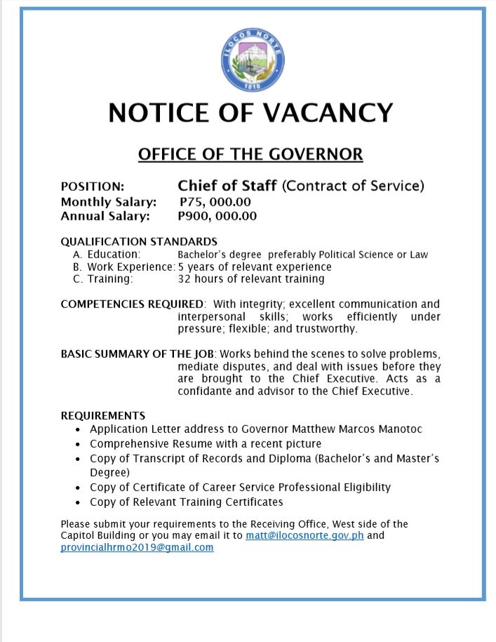 Chief of Staff (Contract of Service)